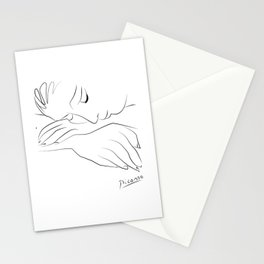 Picasso war and peace, minimal sad woman portrait line art Stationery Cards