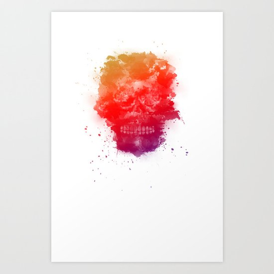 Rainbow Splatter Skull Art Print