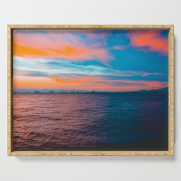 Colorful sea in the night with industrial port Serving Tray