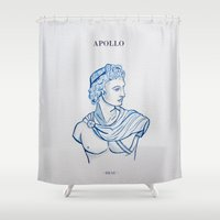 apollo Shower Curtains featuring APOLLO - GREEK GOD by DEAU DESIGN
