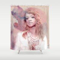 rihanna Shower Curtains featuring Rihanna by Kanelko