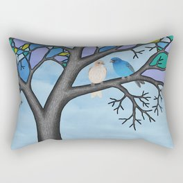 indigo buntings in the stained glass tree Rectangular Pillow