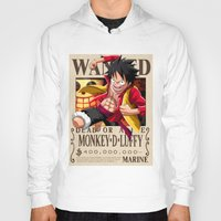 luffy Hoodies featuring Monkey D. Luffy wanted by r3v0lver