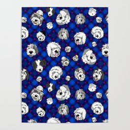 Navy Plaid Furbaby faces Poster