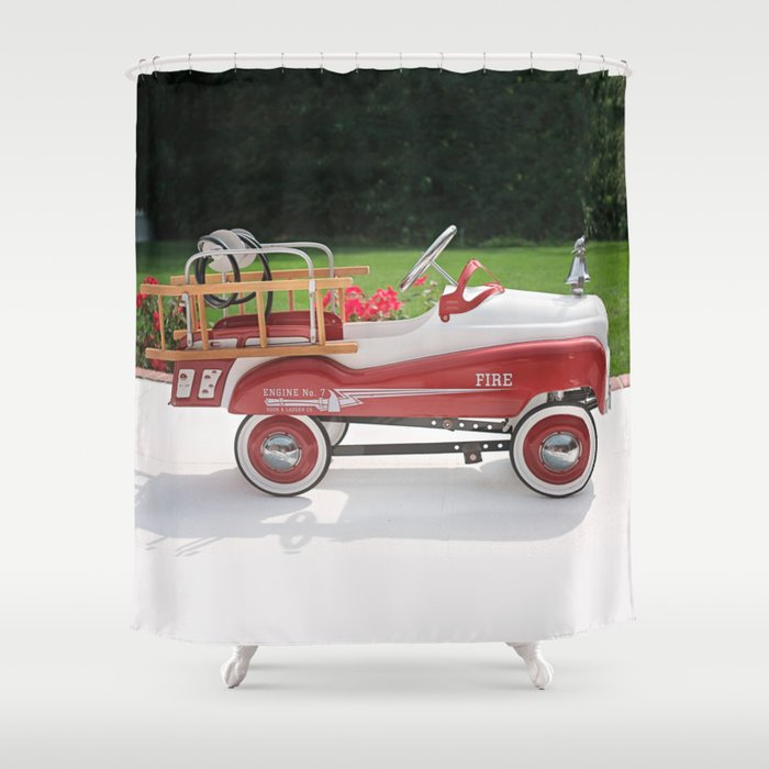 Generic Childs Metal Pedal Car Firetruck Shower Curtain By Marios