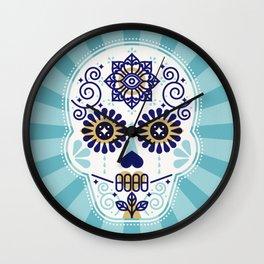 Día de Muertos • Mexican Sugar Skull – Baby Blue Palette Wall Clock