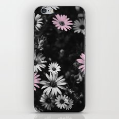 Pink, Black, and White Flowers iPhone Skin