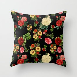 Black and red Vintage roses Throw Pillow