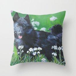 Schipperke dog art from an original painting by L.A.Shepard Throw Pillow