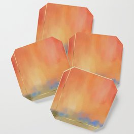 Abstract Landscape With Golden Lines Painting Coaster