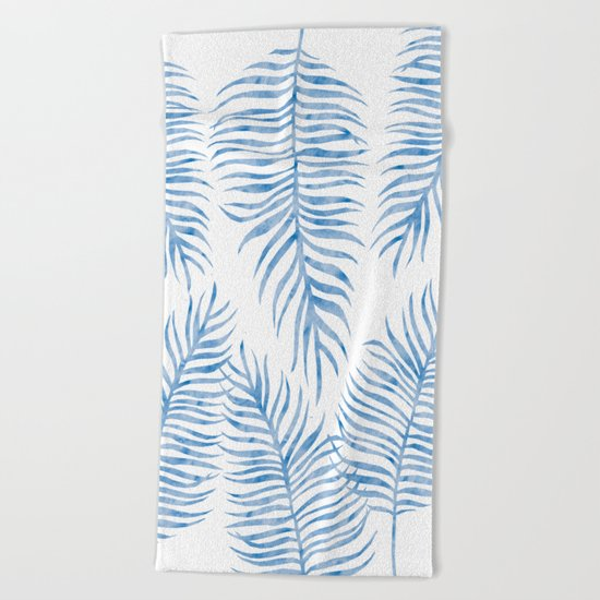 Fern Pattern Blue Beach Towel