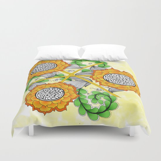 Zentangle Happy Yellow and Orange Sunflowers Duvet Cover