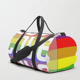 Gay flag with the colors of the rainbow with the word love. Duffle Bag
