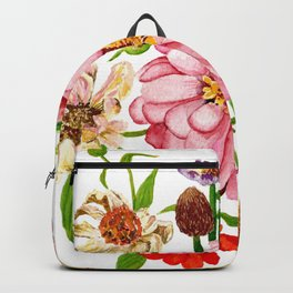 Zinnia Wildflower Floral Painting Backpack