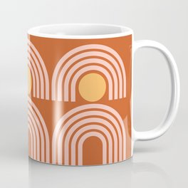 Geometric Lines in Rose Gold Terracotta (Sun and Rainbow Abstract) Coffee Mug