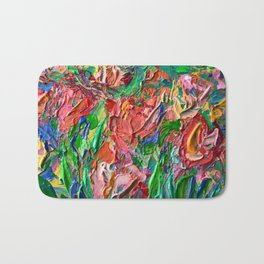 Tulips - palette knife abstract nature flower painting by Adriana Dziuba Bath Mat