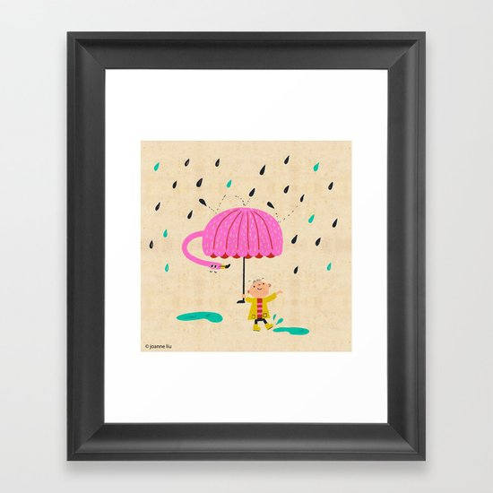 one of the many uses of a flamingo - umbrella Framed Art Print
