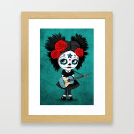 Day of the Dead Girl Playing Guatemalan Flag Guitar Framed Art Print