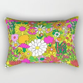 60's Groovy Garden in Lime Green Rectangular Pillow