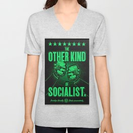 """Vintage """"The Other Kind of Socialist"""" Alcoholic Lithograph Advertisement in bright green Unisex V-Neck"""