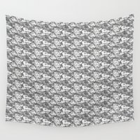 military Wall Tapestries featuring Military Camouflage Pattern - Gray White  by Strawberry and Hearts