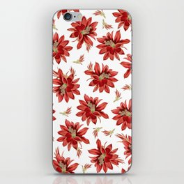 Red Christmas Cactus Flowers Floral Pattern iPhone Skin