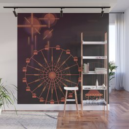 Fairground by night Wall Mural