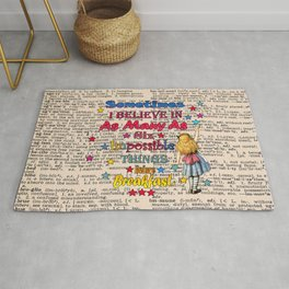 Alice in wonderland Impossible Quote - Vintage Dictionary Page Rug