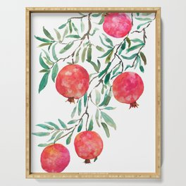 red pomegranate watercolor Serving Tray