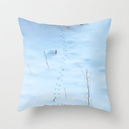 Watercolor Footprints, Mouse 01, Snowy Retreat Throw Pillow