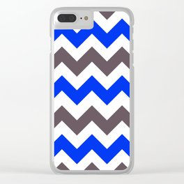 Blue Nebulas and Grey ZigZag Chevron Pattern Clear iPhone Case