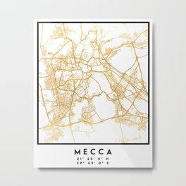 MECCA SAUDI ARABIA CITY STREET MAP ART Metal Print