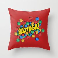 bazinga Throw Pillows featuring Bazinga! by Skeleton Jack