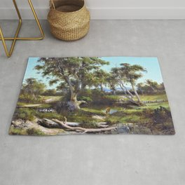 Louis Buvelot - Sheep wash in the western district - Digital Remastered Edition Rug