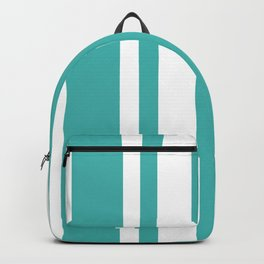 Mixed Vertical Stripes - White and Verdigris Backpack