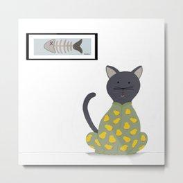 Cat in a Onesie Metal Print