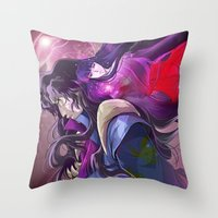 inuyasha Throw Pillows featuring Naraku and Kikyou by Chantel Noel Illustrations