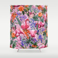 Floral and Flemingo VI pattern Shower Curtain