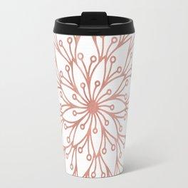 Mandala Blooming Rose Gold on White Travel Mug
