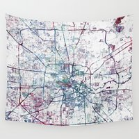 houston Wall Tapestries featuring Houston map by MapMapMaps.Watercolors