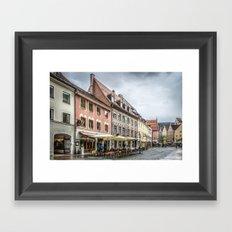Fussen. Alpine town street view Framed Art Print