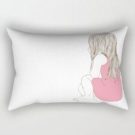 Little girl in a pink dress sitting Rectangular Pillow
