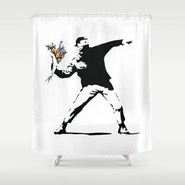 Banksy Flower Thrower Shower Curtain