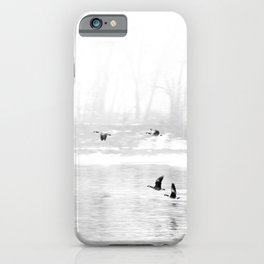 Canadian Geese flying formation  over the river through the fog iPhone Case