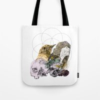 sacred geometry Tote Bags featuring Sacred by Ashley Payne