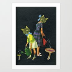 Watering Can Cats Art Print