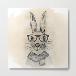 Cute funny watercolor bunny with glasses and scarf hand paint Metal Print