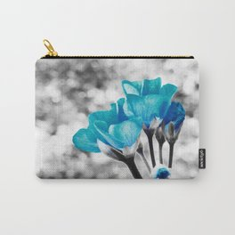 Turquoise FloWERS Pop of Color Carry-All Pouch