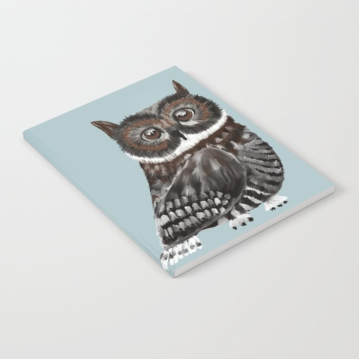 Adorable Owl In Blue Notebook