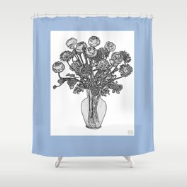 Spring Flowers in Vase on Robin's Egg Blue Background Shower Curtain